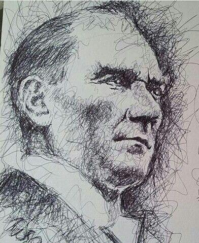 Atatürk portre cizim facebook.com/organikcizer