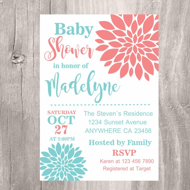 Baby Shower Invitation, Coral And Teal Baby Shower Invite, Printable Floral Baby  Shower Invitation, Teal And Coral Flowers