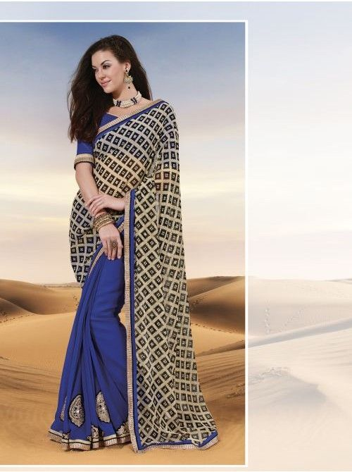 Black and Blue Faux Georgette Half and Half Saree #Black #Blue #Georgette #HalfAndHalfSaree #BuySaree #Saree