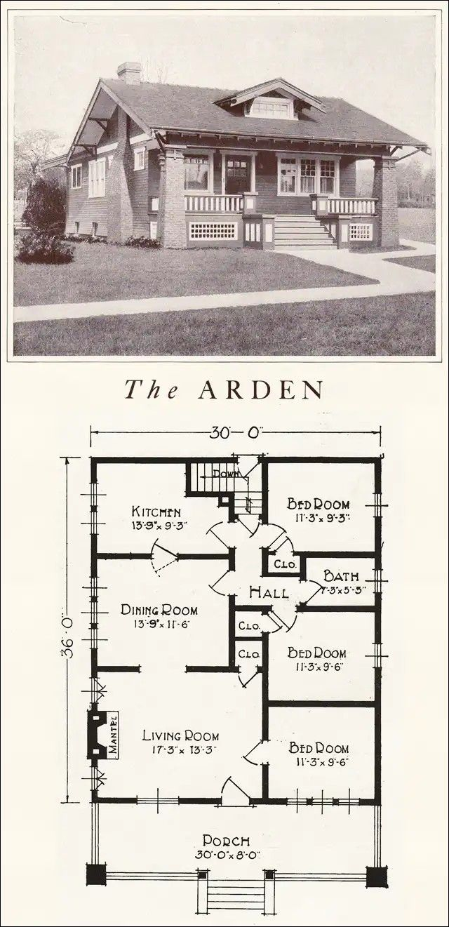 Pin By David Lyday On Houses Bungalow Floor Plans Vintage House Plans Craftsman Bungalow Exterior