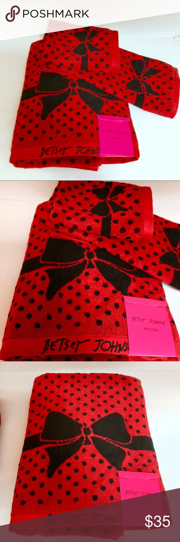 🎉SALE🎉Betsey Johnson holiday towel set This 3 piece red bow holiday towel set by Betsey Johnson is sure to be a hit this season ! Three piece set includes 1- bath towel , 1- hand towel and 1- wash cloth ! Beautiful red with large black bow . Makes a great gift ! Only two available ! Betsey Johnson Accessories