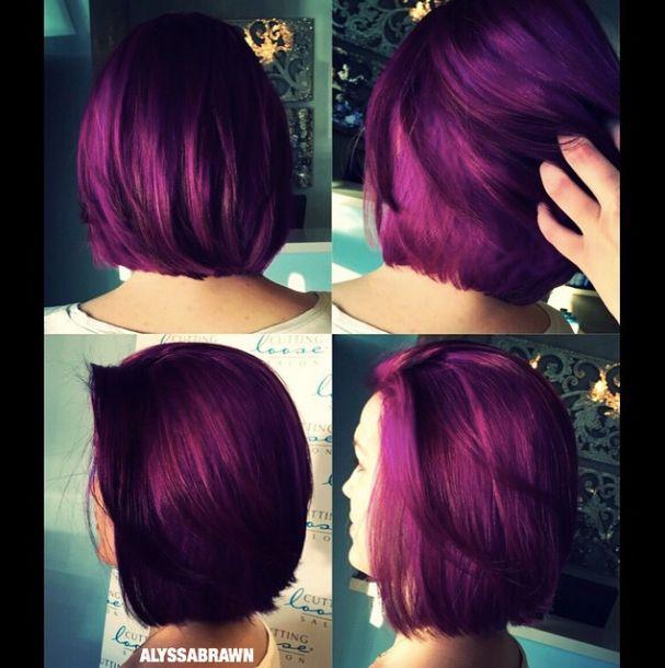 purple hair, bright, vibrant, unicorn hair, short hair, bob, 2016 #cuttingloosect