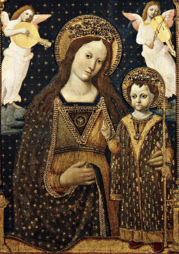 Museo Bagatti Valsecchi, Giovanni Ambrogio Bevilacqua, Madonna col Bambino angeli musicanti, Dio Padre e cherubini, fine XV secolo