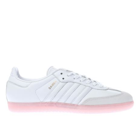 womens adidas white & pink samba trainers