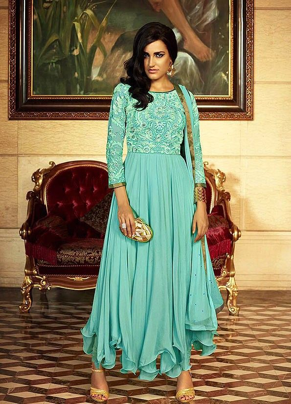 Sky Blue Georgette Diamond Worked Embroidered Suit #SalwarSuits #snapdeal #India