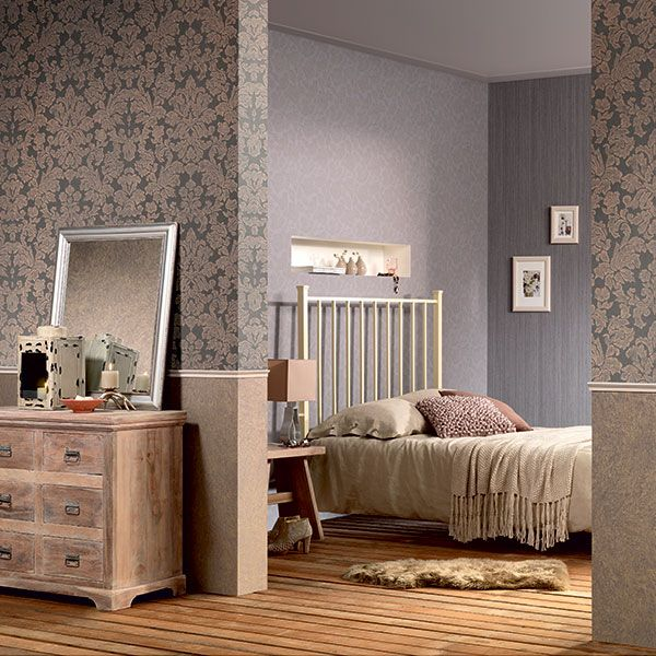 Lovely warm inviting space using golds, purple and wooden flooring and accessories. Belleville Wallpaper Collection by Galerie - 441437R