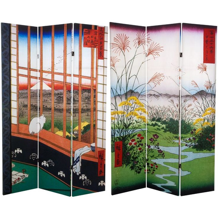 x double sided hiroshige 3 panel room divider