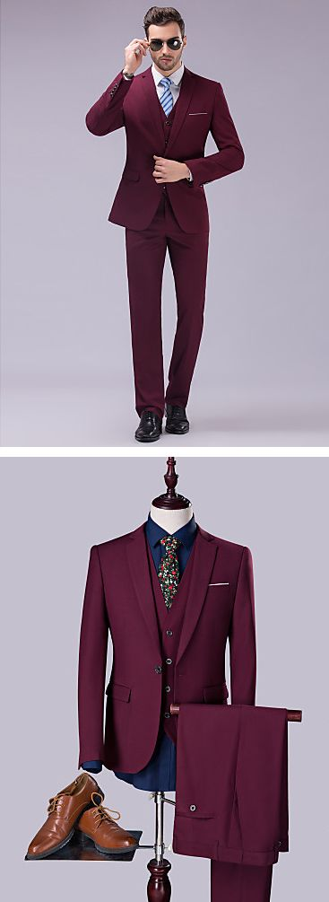Looking at men in stylish chic suits is like looking at a beautiful painting. Chic burgundy wine three piece men suit for real professionals. Find it at  $59.49.  Enjoy up tp 85% OFF on our Black Friday sale - till December 1st.