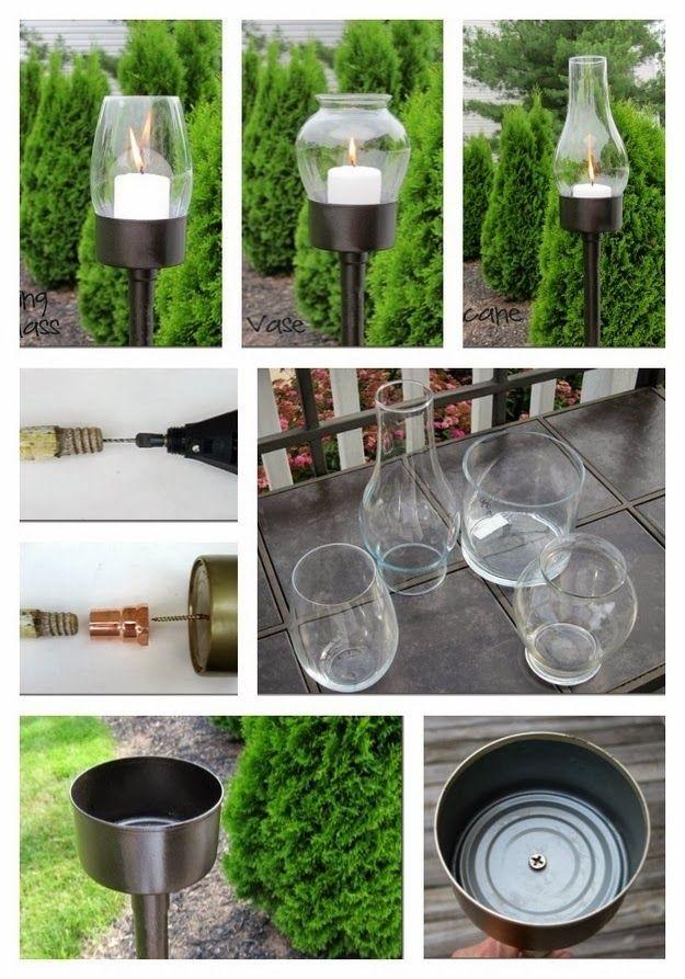 Lanternas para jardim feitas com latas de atum - DIY                                                                                                                                                                                 Mais