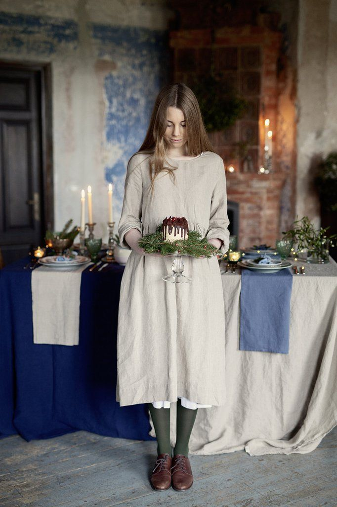 NATURAL LINEN Smock Dress, long sleeves
