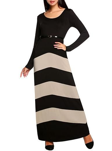 Long Sleeved Maxi Dress - Leather Look Belt at Waistline / Contrasting Thick Banded Print