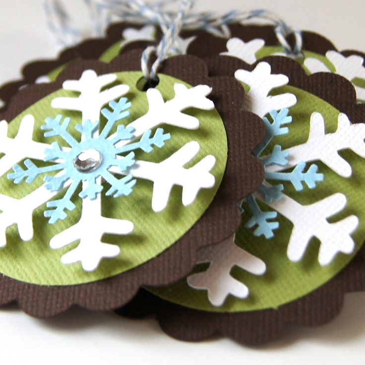 Snowflake Christmas Tags or Package Labels White by scrapbits