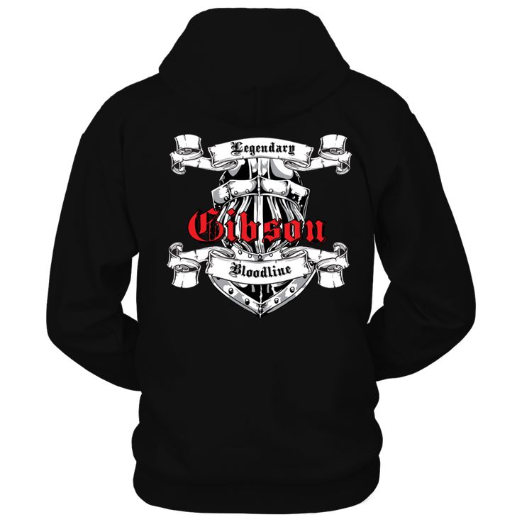 Bold Knight Helmet Graphic Legendary Bloodline Last Name Gibson T-Shirt, Located on back of this hoodie is a large graphic image of a Knight's helmet and banners. Legendary Bloodline on banners with Large Bold print of last name. Wear this with pride that shows your lineage is of Legendary Bloodline.  ,  Available Products:          Gildan Unisex Pullover Hoodie - $39.95 Gildan Unisex T-Shirt - $22.95 Gildan Long-Sleeve T-Shirt - $29.95       . Buy now…