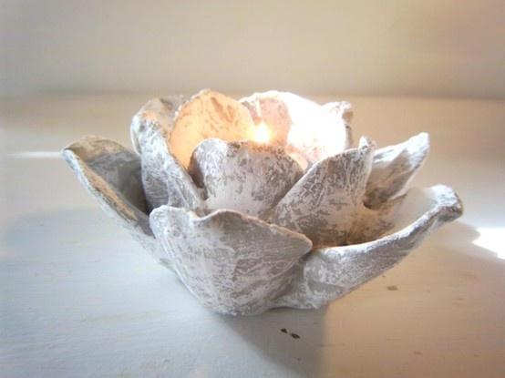 Grey Upcycled flower candle holder