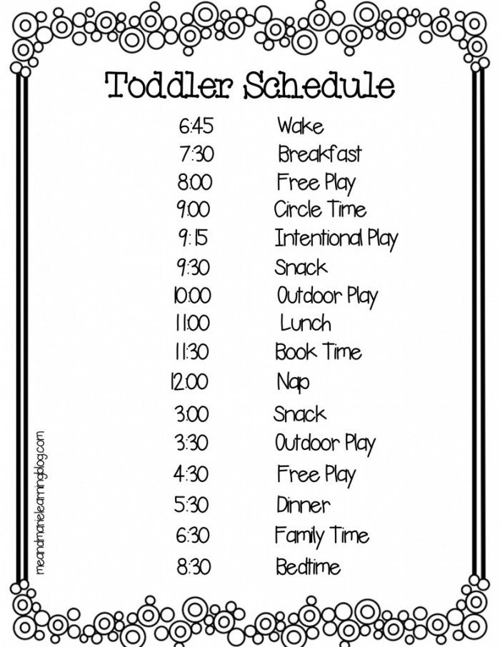 A Typical Toddler Schedule - Me & Marie Learning