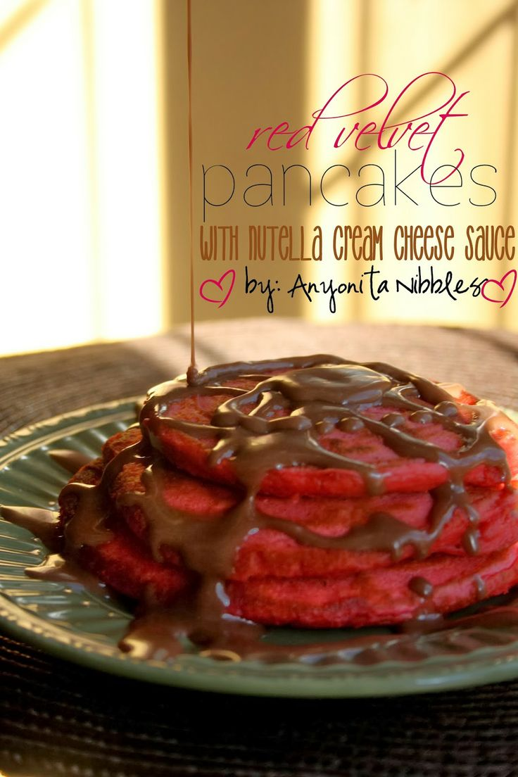 Valentine's Red Velvet Pancakes with Nutella Cream Cheese Sauce