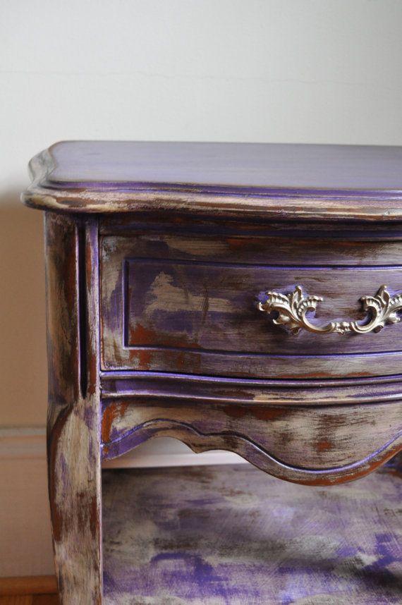 Gypsy Purple Chalk Painted Bohemian Nightstand By