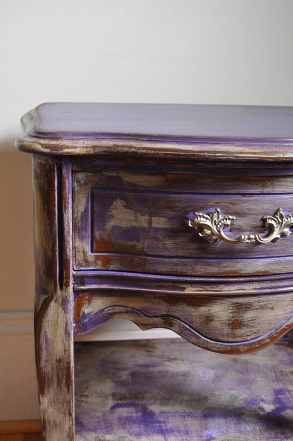 Gypsy Purple Chalk Painted Bohemian Nightstand Rustic