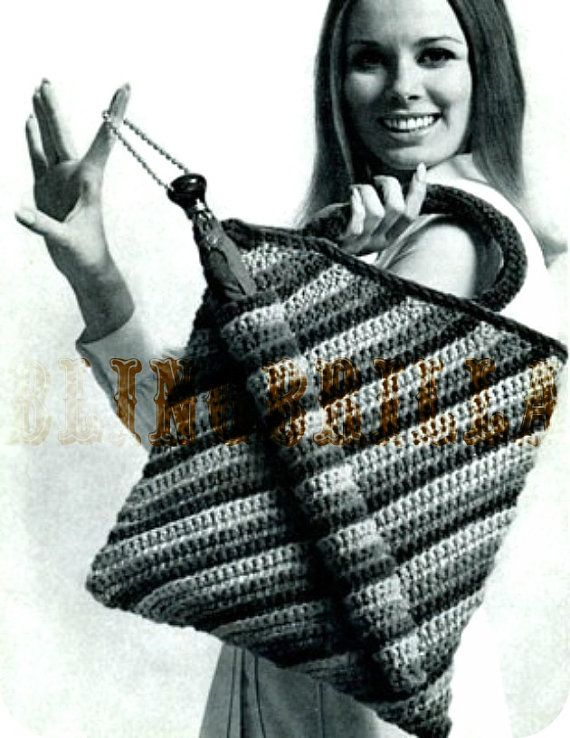 vintage 1960s #crochet umbrella tote pattern sold by BlingBrilla on Etsy.