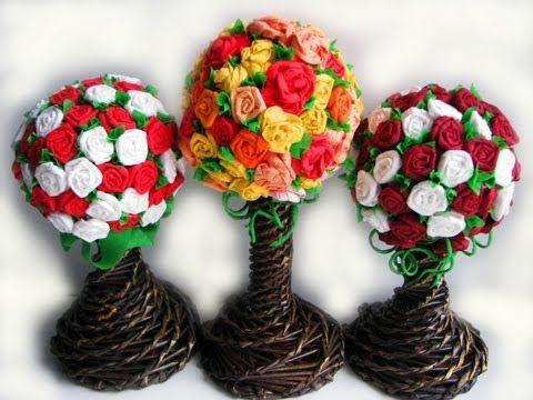 ▬► Цветы из бумаги. Часть IV. Топиарий / Flower topiary - YouTube