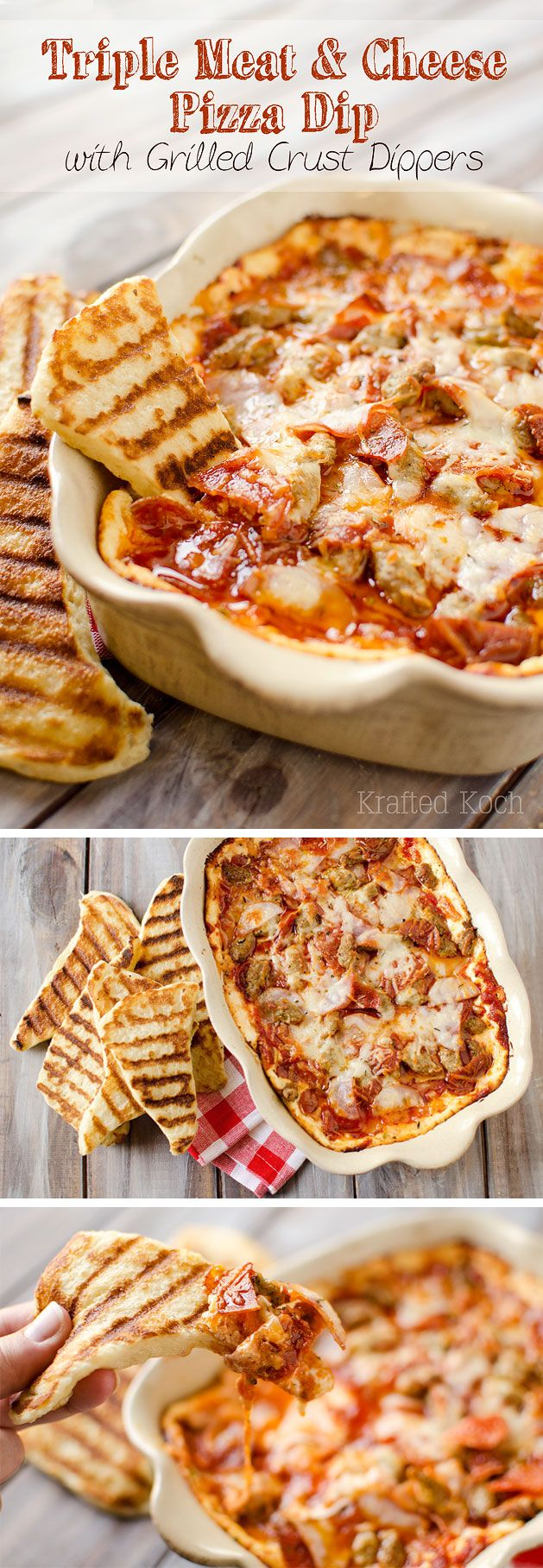 Triple Meat & Cheese Pizza Dip with Grilled Crust Dippers is an amazingly cheesy and flavorful appetizer recipe that will be a hit at your next party! - Krafted Koch #Appetizer #Dip #Pizza #SuperBowl