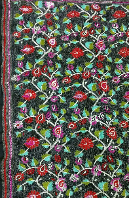 Black Pure Silk Embroidered Kantha Dupatta
