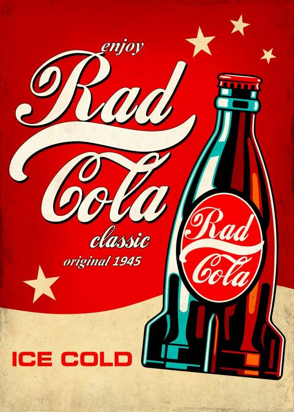 Rad Cola by Remus Brailoiu | Displate | https://displate.com/displate/271075 | coca cola, coke, rad cola, nuka cola, fallout, retro ad poster, atomic age, raygun gothic, nuke, nuclear, radiation, radioactive, pop art | #cocacola #nukacola #coke #fallout #atomicage #raygungothic #rad #radioactive #nuke #nuclear #retro #popart