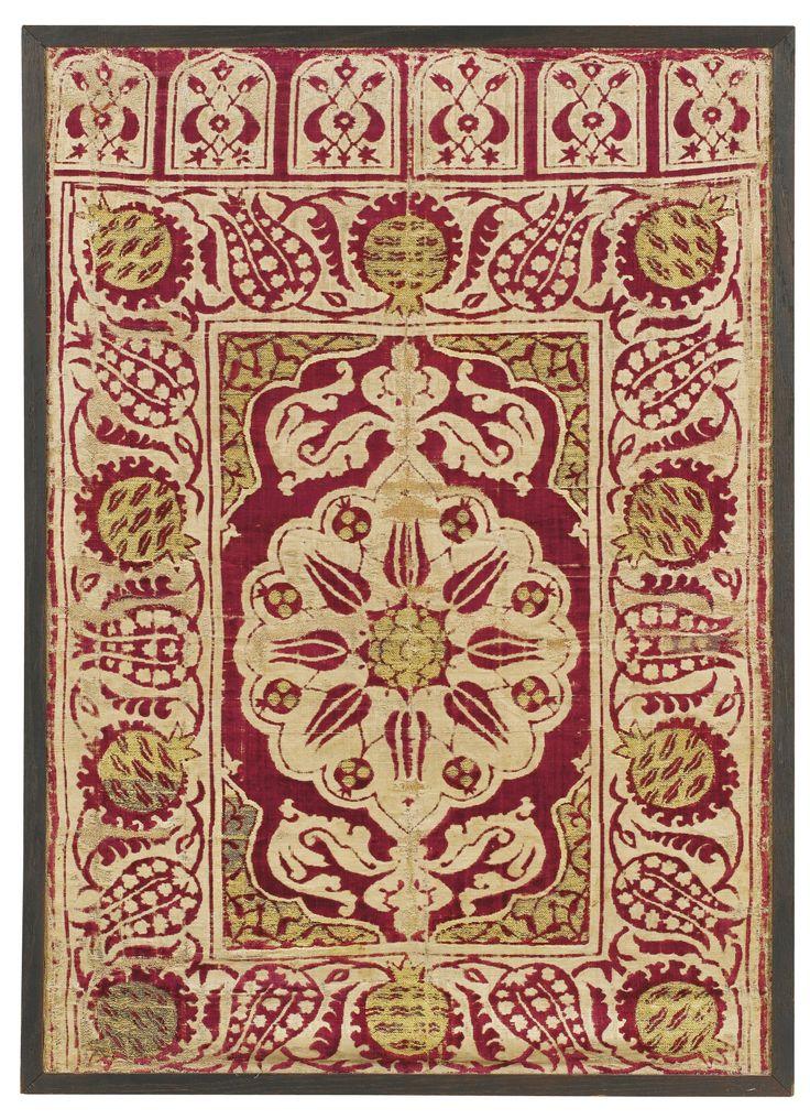 An Ottoman voided velvet and metal-thread (çatma) yastik, Bursa or Istanbul, Turkey, 17th century   Lot   Sotheby's