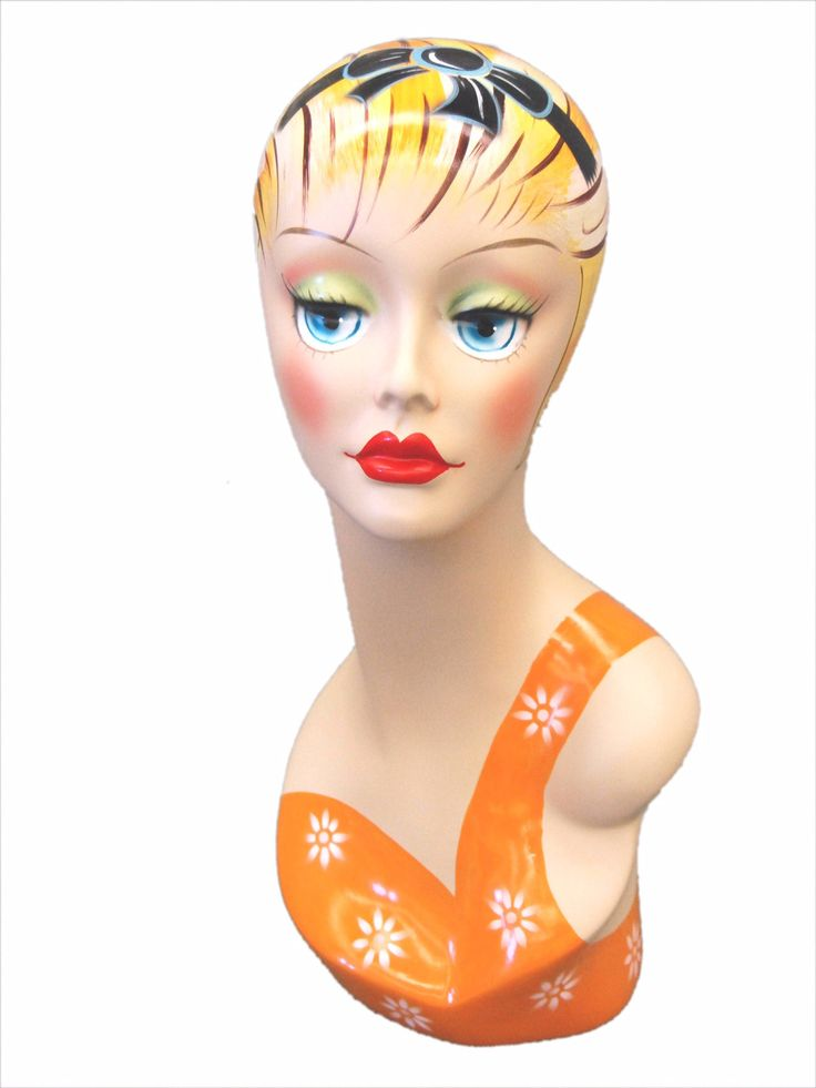 Vintage Style Mannequin Head with Painted Face 1 – Mannequin Madness