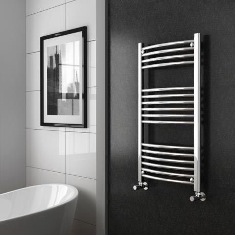 Diamond Curved Heated Towel Rail W600 X H1000mm Chrome