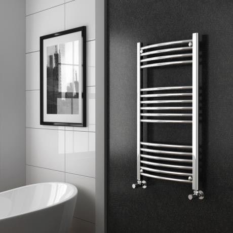 Diamond Curved Heated Towel Rail W600 X H1000mm Chrome