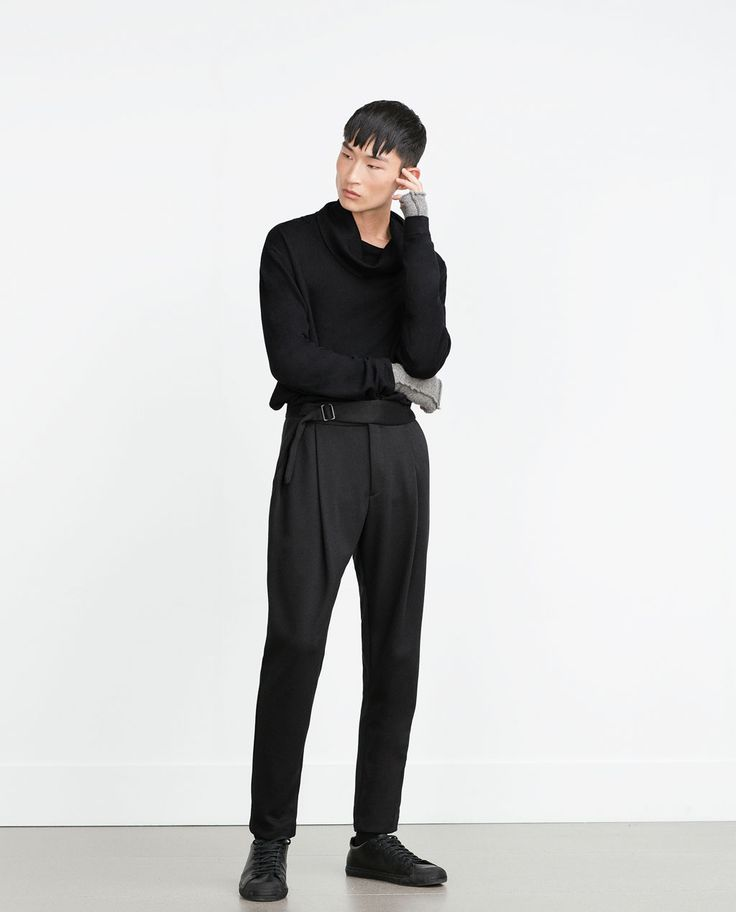 TROUSERS WITH BELT DETAIL-Trousers-MAN-SALE   ZARA United States