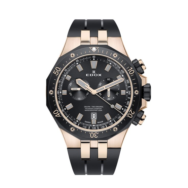 Edox Delfin Chronograph Rose PVD | #Edox | #43Mm, #Chronograph, #Diver, #MEN, #MovementEdox101, #PriceBetween500And1000, #Quartz, #SwissMade, #Tachymeter http://www.yourwatchhub.com/edox/edox-delfin-chronograph-rose-pvd/