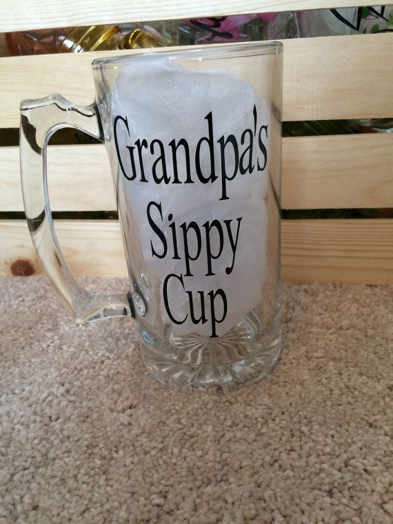 "Large 22 oz. glass beer mug says ""Grandpa's Sippy Cup"" customize colors and personalize"