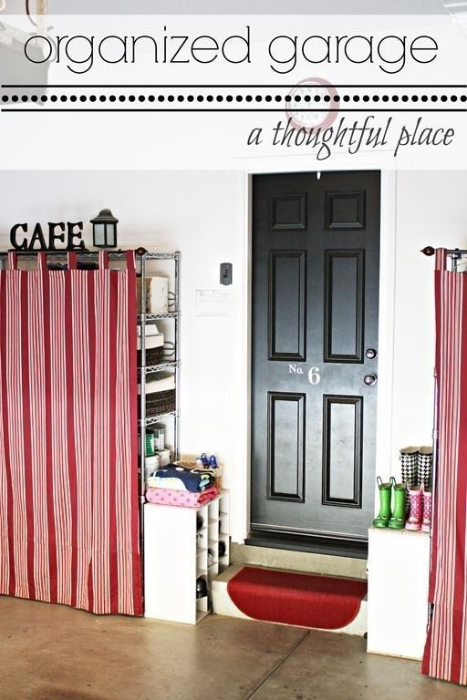 Use tab curtains to cover up unsightly wire shelving. | 31 Easy DIY Upgrades That Will Make Your Home Look More Expensive