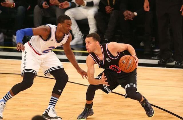 John Wall (Left) and Stephen Curry (Right) during NBA All Star Game...