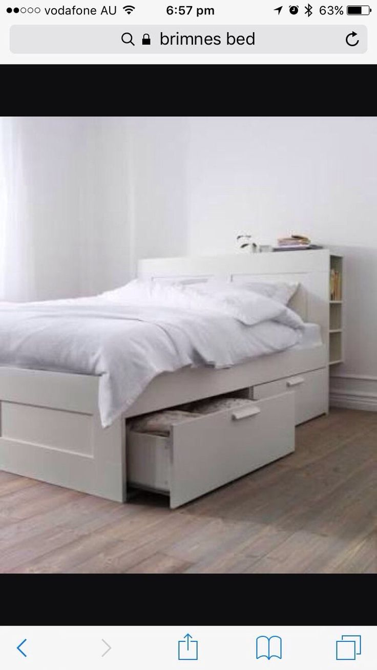 Queen brimnes bed frame for sale with bed head storage unit. Mattress not included