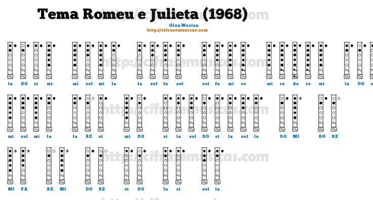 Cifra Tema Romeu e Julieta (1968) - Glen Weston para Flauta Doce