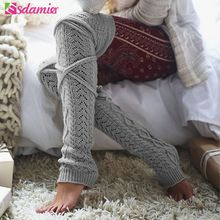 Winter 2017 Knitted Leg Warmers Twisted Lace Up Over Knee Stockings Female Knitwear Calentadores Piernas Mujer Boot Stockings(China)