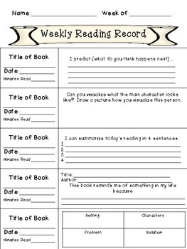 Weekly Reading Records with Comprehension Writing Activities