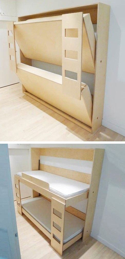 Dumbo Double Murphy Bed by Roberto Gil. When not in use, the ingenious bunk bed folds into a small cabinet only 12″ deep.