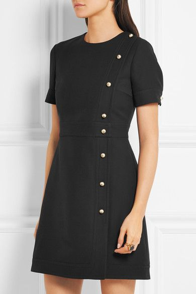 Gucci | Faux pearl-embellished wool and silk-blend mini dress | NET-A-PORTER.COM