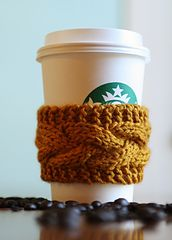 Knit Coffee Cozy! I've made this, it's so easy! Great for beginners!