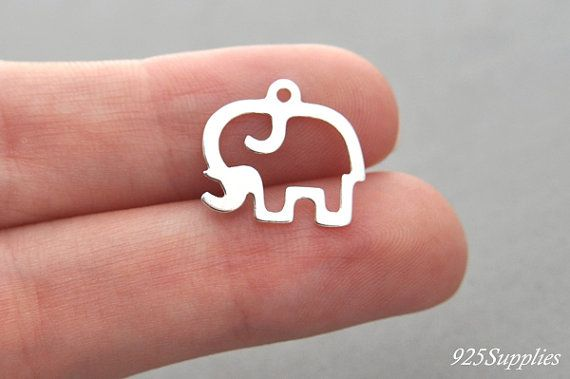 925 Sterling Silver Elephant Charm, Silver Elephant, Elephant Pedant, Silver Charm, Silver Elephant Charm, Elephant, Elephant, Silver 925  > Material: 925 Sterling Silver > Size: A = 15,9 mm (0,63 inch) B = 14,6 mm (0,57 inch) > Quantity: 1 piece > Weight: 0,34 g > Sheet thickness: 0,4 mm (0,02 inch) > Diameter of hole: 1,0 mm (0,04 inch)  The price is for one piece. If you need more let me know.