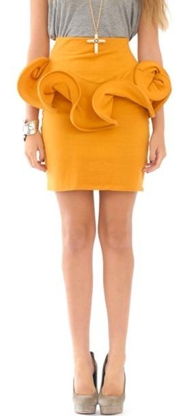 Vintage Quadrille Couture Skirt - marigold/mustard peplum skirt with avant-garde wire trim detailing.