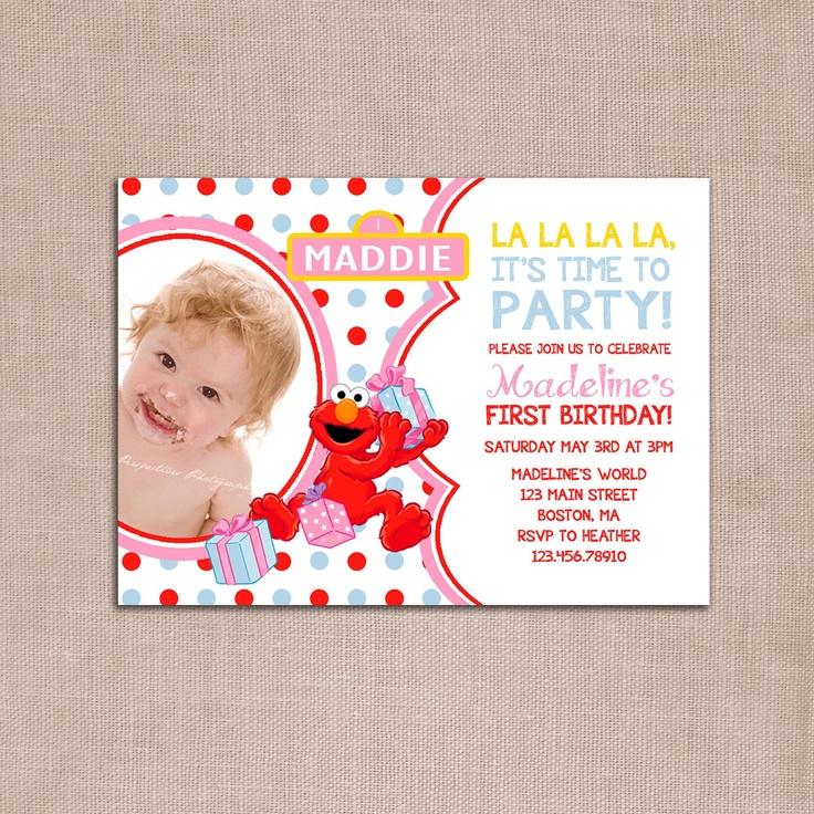 ELMO girl birthday party invitation DIY by WickedCraftyDesigns, $10.00