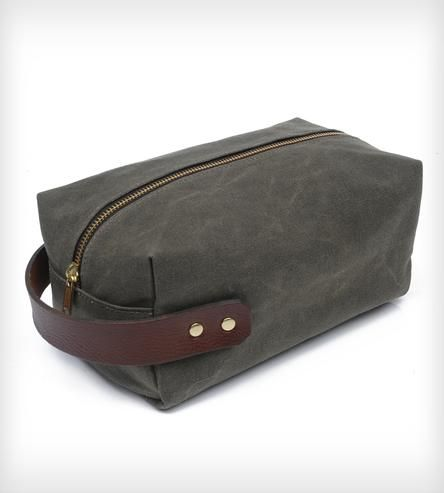 A waxed canvas Dopp kit keeps things a little more organized. (Never a bad thing.)