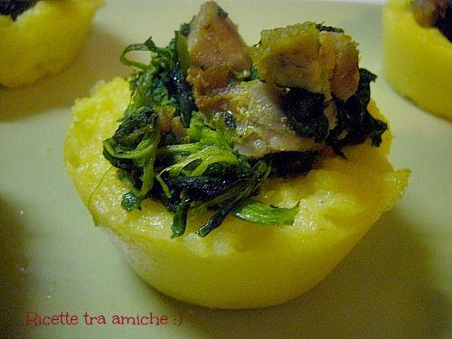 Cestini di #polenta con #salsicce e #friarielli