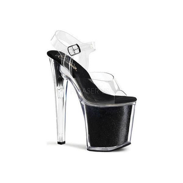 Women's Pleaser Xtreme 808G ($67) ❤ liked on Polyvore featuring shoes, stripper shoes, black, dress shoes, dresses, clear high heel shoes, high heel dress shoes, black glitter shoes, black ankle strap shoes and high heel stilettos