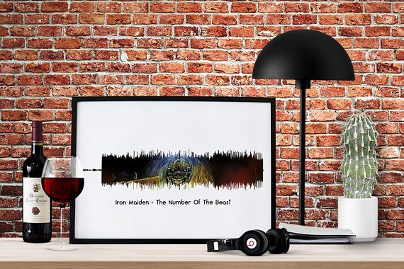 Sound Wave Print,  IRON MAIDEN  Eddie, 666, Number Of The Beast, Heavy Metal, Rock, Song, Music  Sound Wave